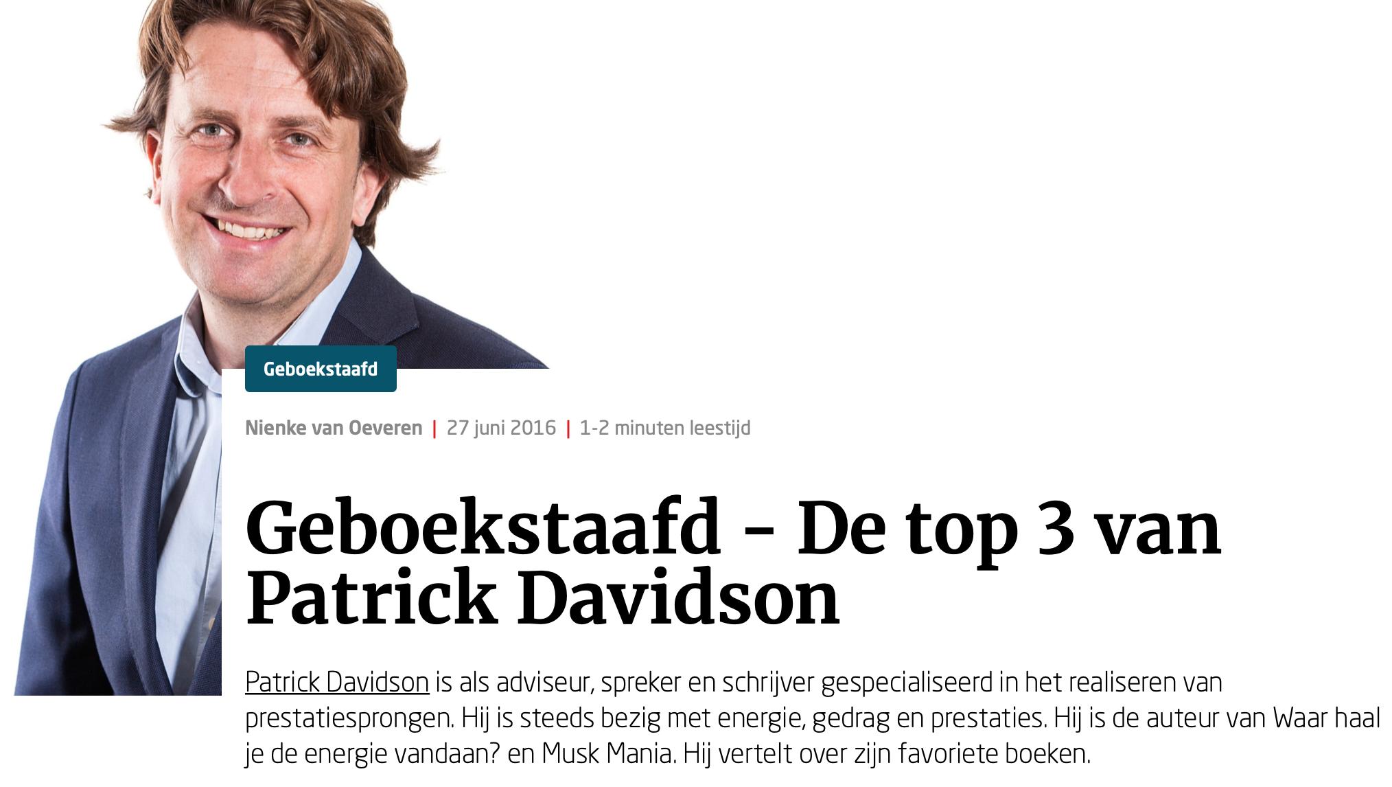 Geboekstaafd - de Top 3 van Patrick Davidson