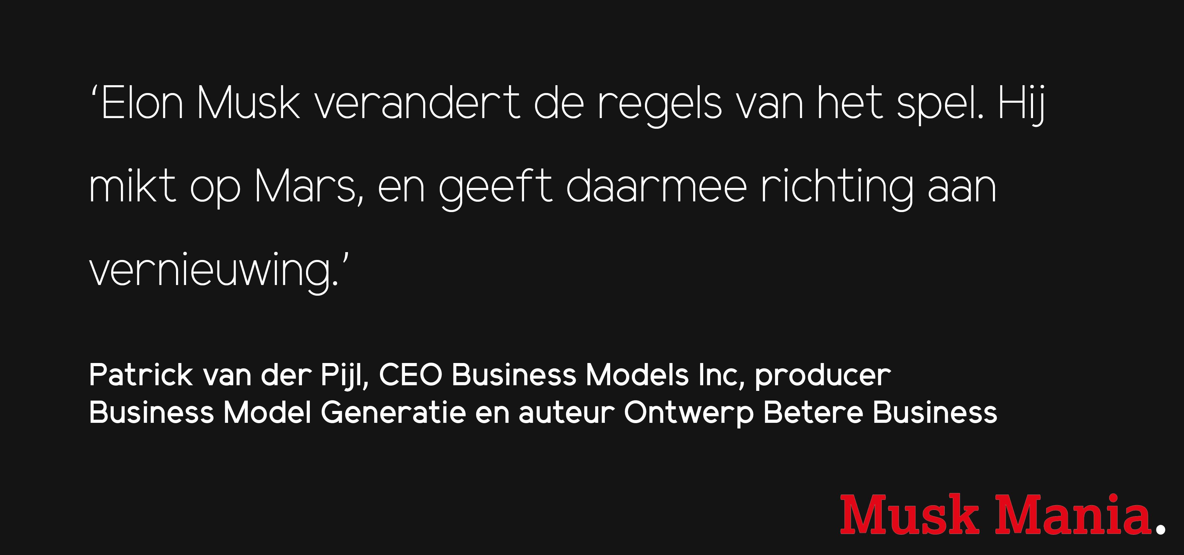 Patrick van der Pijl (Business Model Generation) over Musk Mania