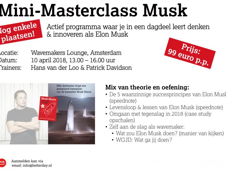 Laatste plaatsen voor 10 april: Mini-Masterclass Musk