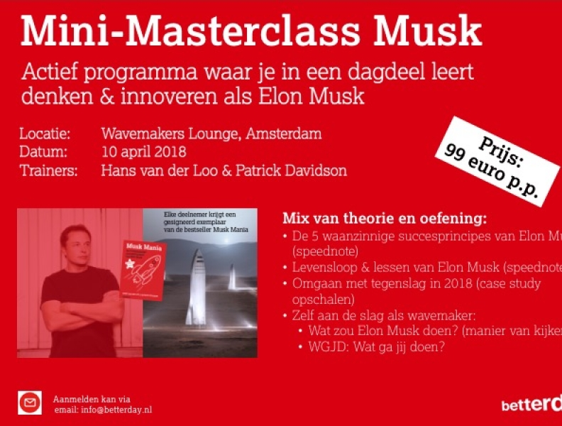 10 april: Mini-Masterclass Musk. Leer denken & innoveren als Elon Musk