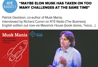 RTE Radio 1 (Ierland): Wat gebeurt er met Elon Musk? Interview met Patrick Davidson