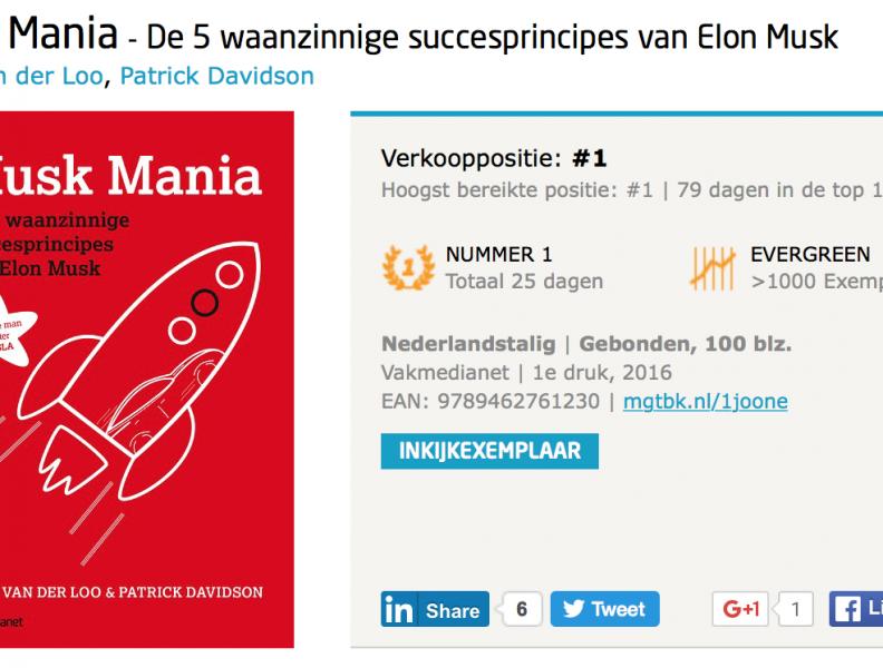 Musk Mania, terug op nummer 1 in de Bestseller Top 100 !